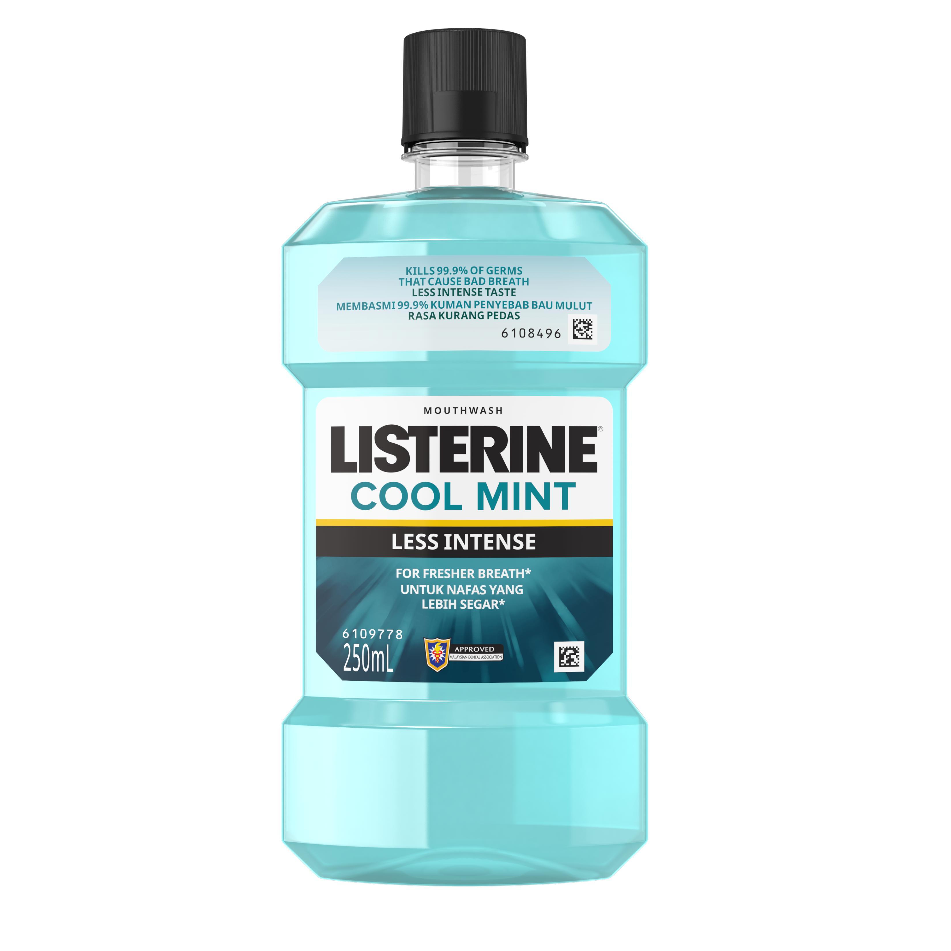 Listerine Cool Mint Less Intense Mouthwash (250ml)