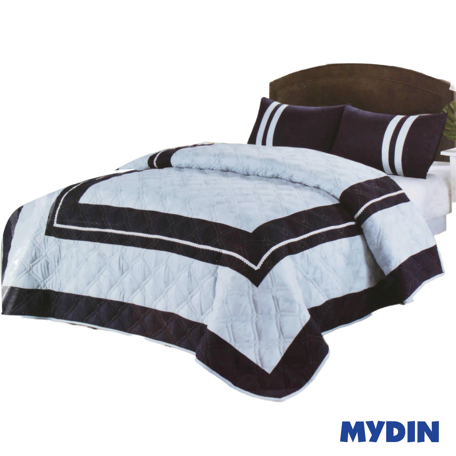 Cozy Navy Blue Bedspread 3 in 1 Queen Set (BMAX-12403)