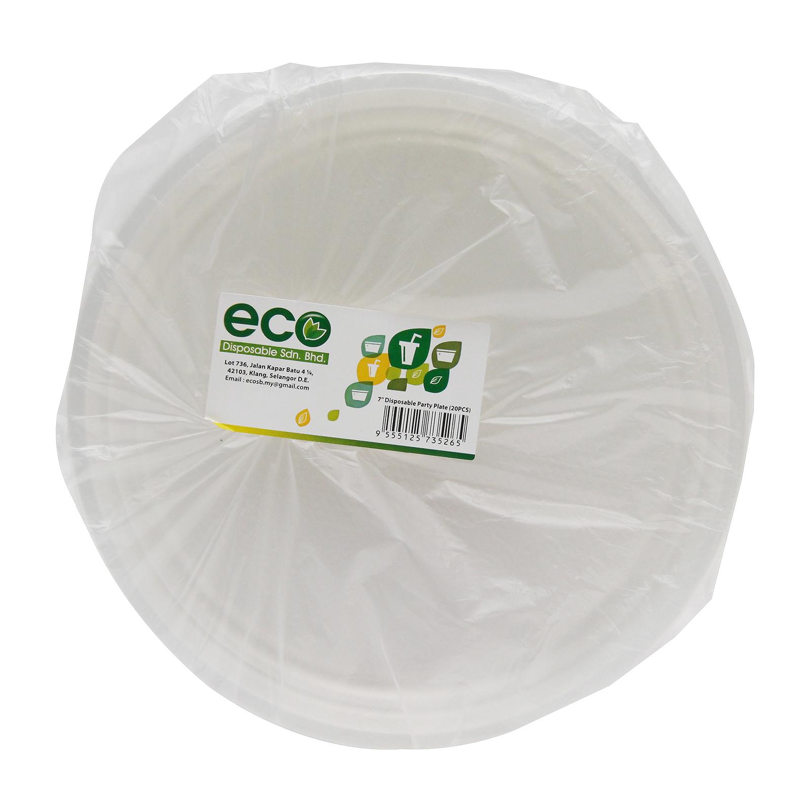 """Eco Plastic Plate 7"""" 20pcs/Pack (Disposale)"""