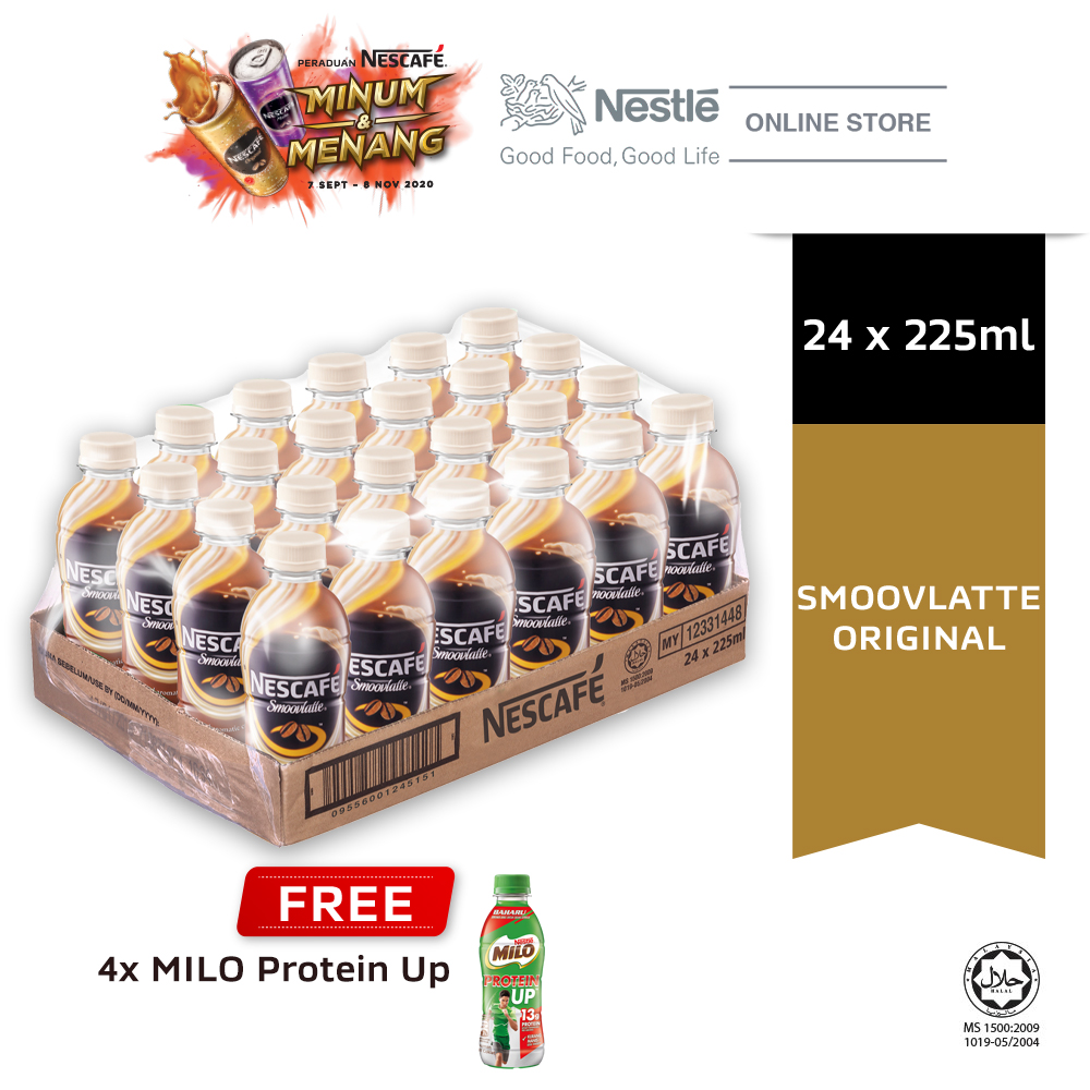 NESCAFE RTD Smoovlatte Original 24 Bottles 225ml,Buy 1 Carton Free 4 Milo Protein Up (Exp: Dec'2020)