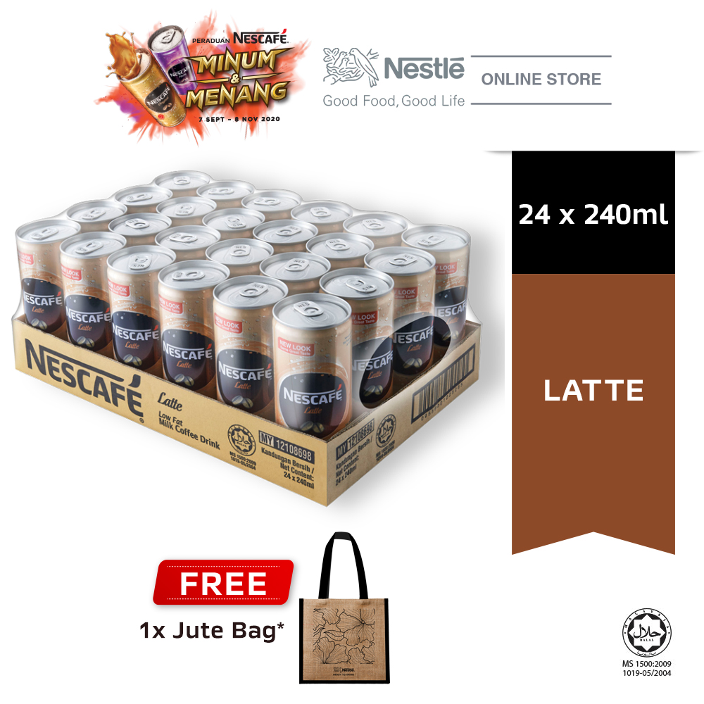 Nescafe Latte Can 24 x 240ml Free Jute Bag