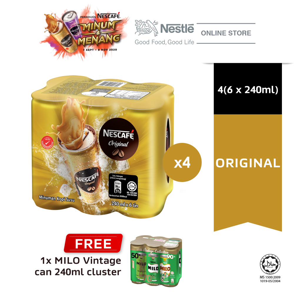 NESCAFE Original RTD 6 Cans, 240ml Each, Buy 4 Free 1 Cluster of Milo Can 240ml (Exp: Dec'2020)