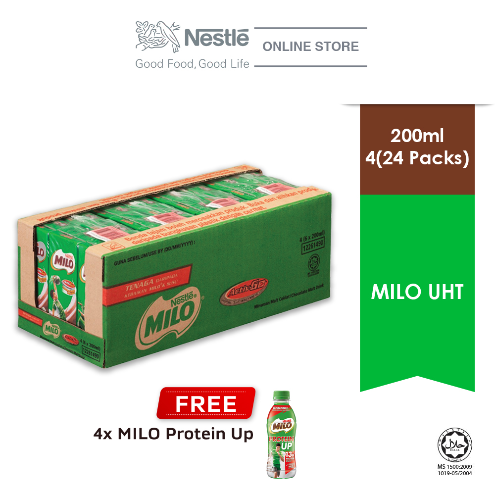 MILO ACTIV-GO UHT 24 x 200ml, Buy 1 Free 4 unit of Milo Protein Up