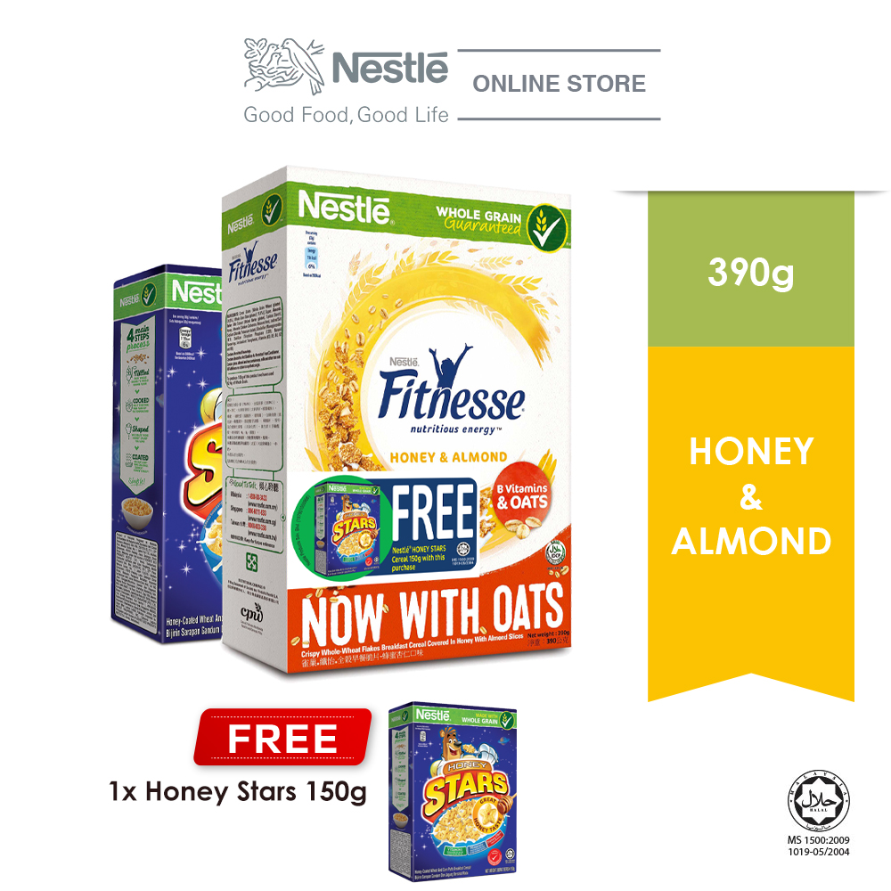Nestle Fitnesse Almond Cereal 390g Free Honey Star 150g EXP Date: APR'21