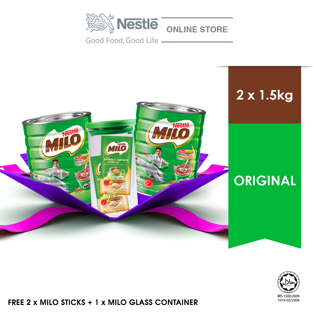 [Limited Time Offer] NESTLÉ MILO ACTIV-GO CHOCOLATE Tin 1.5kg, Buy 2 Free 1 Milo Container