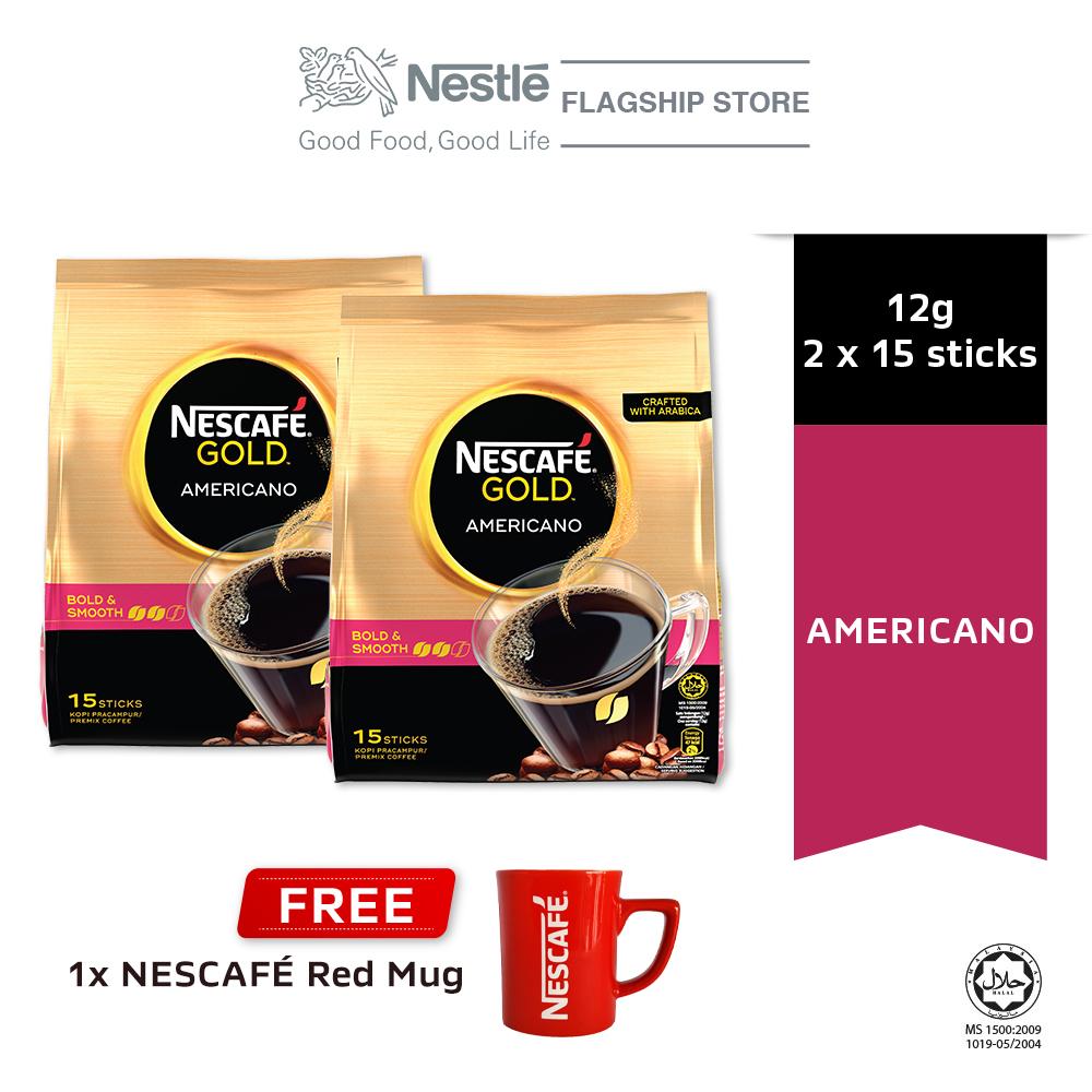 NESCAFE GOLD Americano 15x12g, Buy 2 Free 1 Nescafe Red Mug