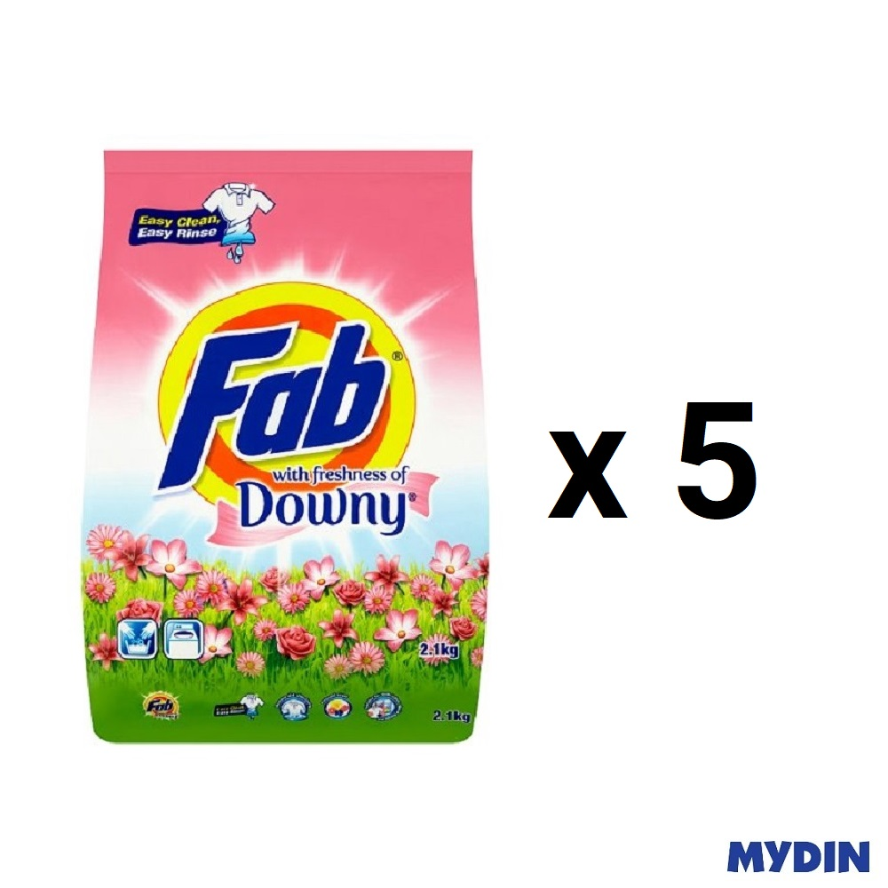 Fab with freshness of Downy Laundry Detergent Powder (2.1kg x 5)