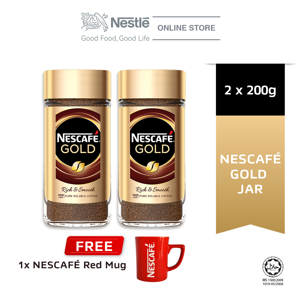 NESCAFE Signature Gold Jar 200g, Buy 2 Free 1 Nescafe Red Mug