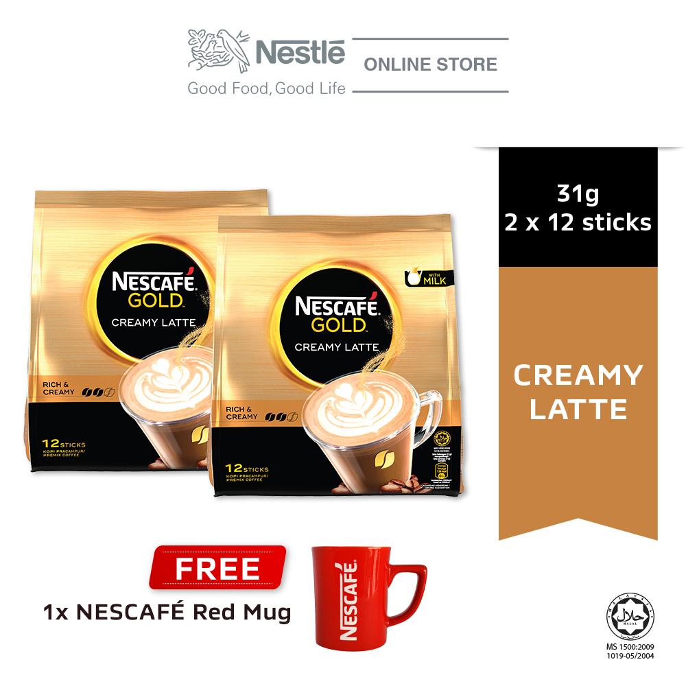 NESCAFE GOLD Creamy Latte 12x31g, Buy 2 Free 1 Nescafe Red Mug