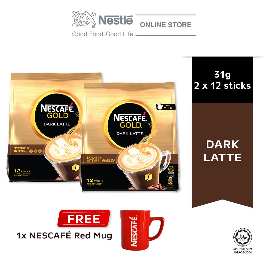 NESCAFE GOLD Dark Latte 12x31g, Buy 2 Free 1 Nescafe Red Mug