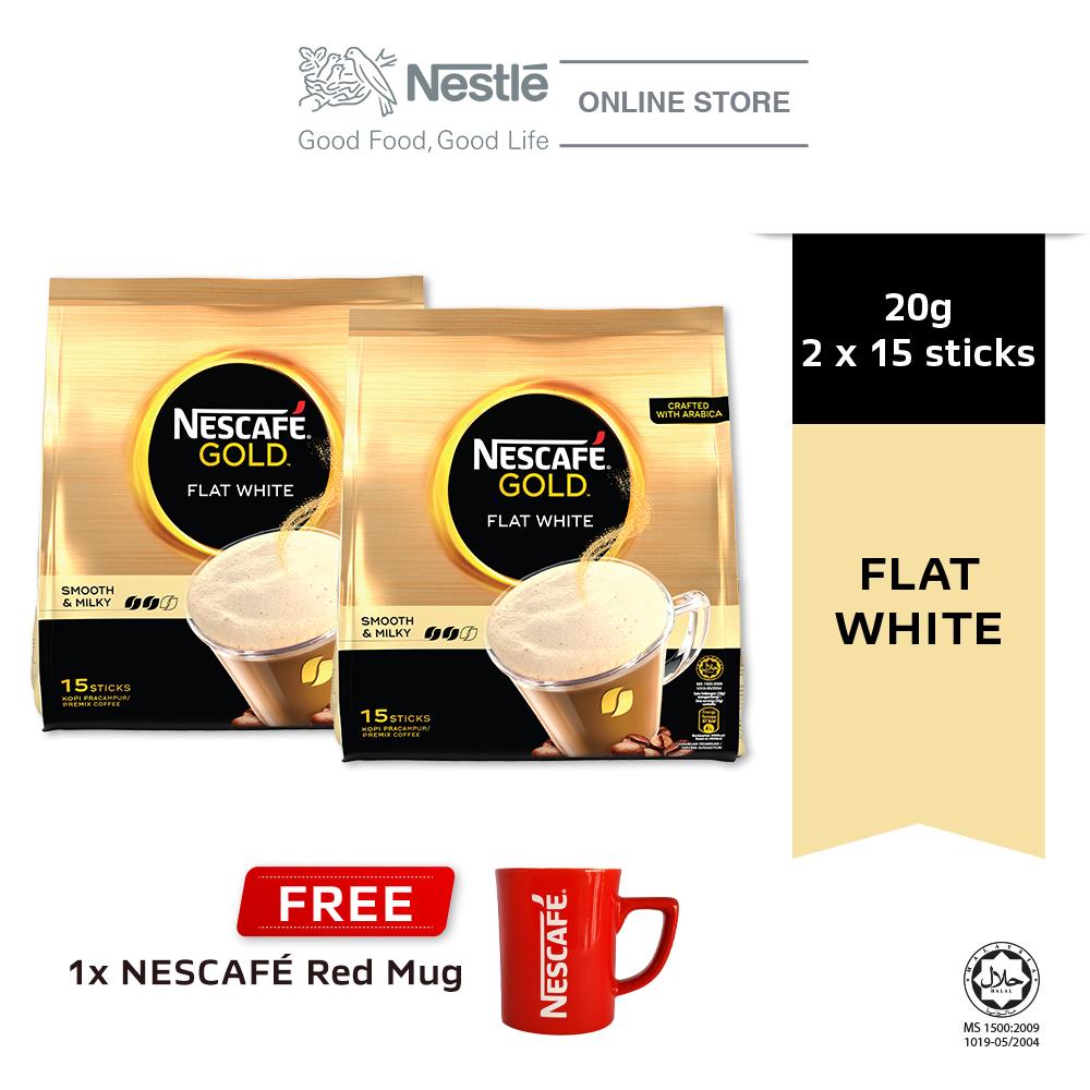 NESCAFE GOLD Flat White 15x20g, Buy 2 Free 1 Nescafe Red Mug