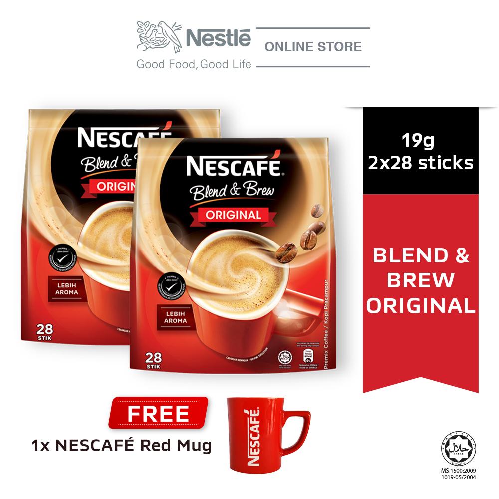 NESCAFE Blend and Brew Original 28x19g, Buy 2 Free 1 Nescafe Red Mug