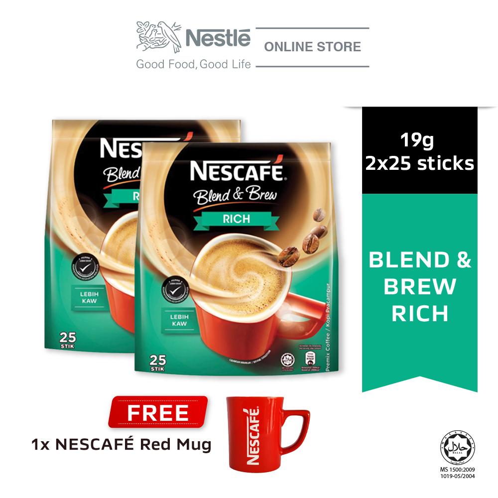 NESCAFE Blend and Brew Rich 25x19g, Buy 2 Free 1 Nescafe Red Mug