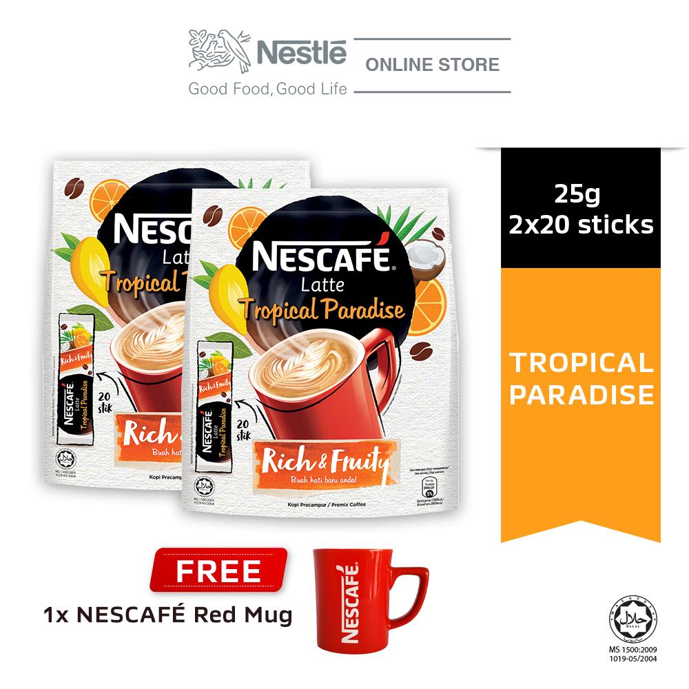 NESCAFE Latte Tropical Paradise 20x25g, Buy 2 Free 1 Nescafe Red Mug