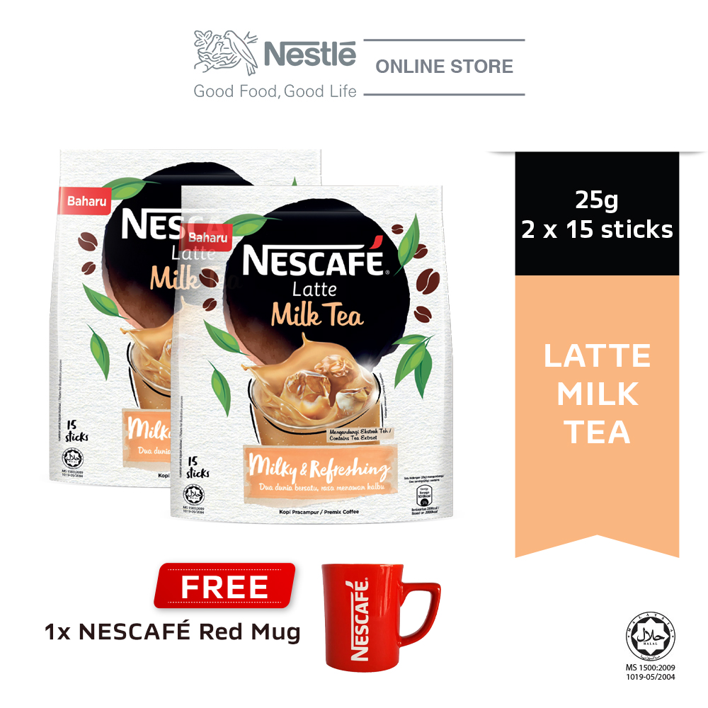 NESCAFE Latte Milk Tea 15x25g, Buy 2 Free 1 Nescafe Red Mug
