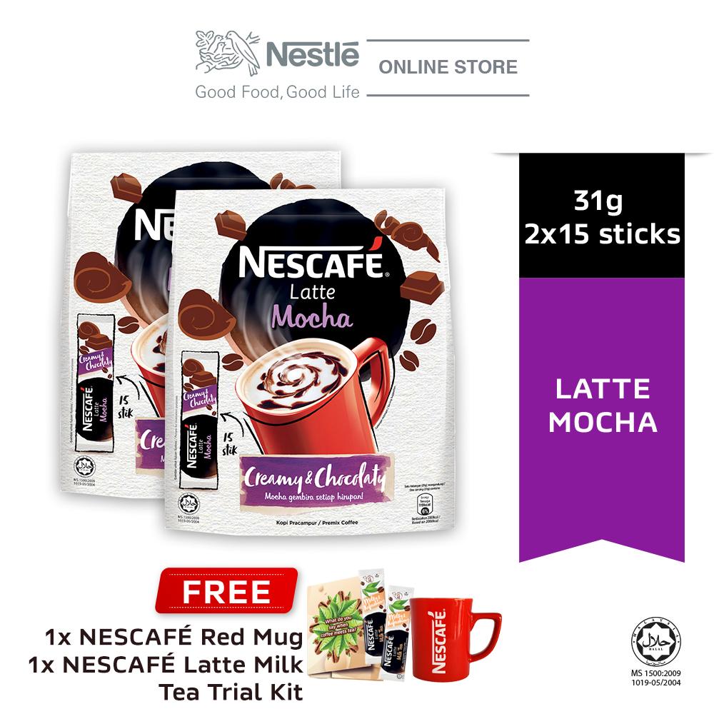 NESCAFE Latte Mocha 15x31g, Buy 2 Free 1 Nescafe Red Mug & Latte Milk Tea Trial Kits