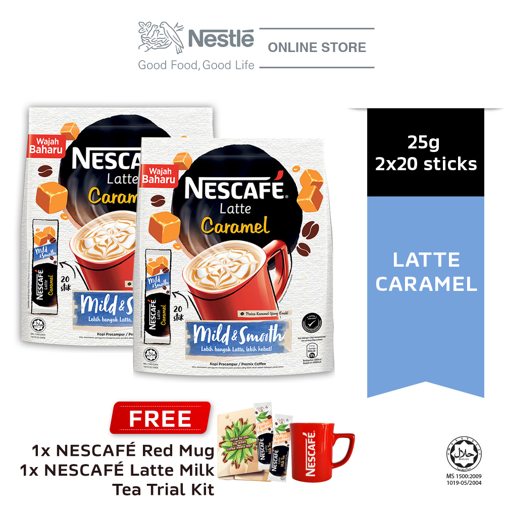 NESCAFE Latte Caramel 20x25g, Buy 2 Free 1 Nescafe Red Mug