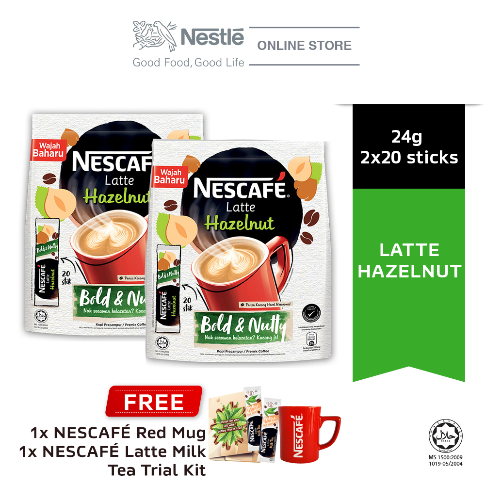 NESCAFE Latte Hazelnut 20x24g, Buy 2 Free 1 Nescafe Red Mug & Latte Milk Tea Trial Kits