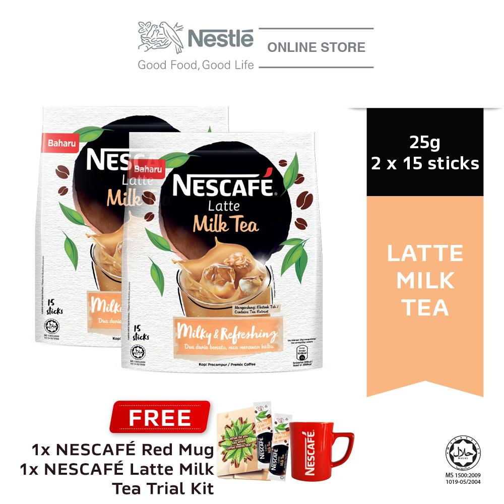 NESCAFE Latte Milk Tea 15x25g, Buy 2 Free 1 Nescafe Red Mug & Milk Tea Trial Kits