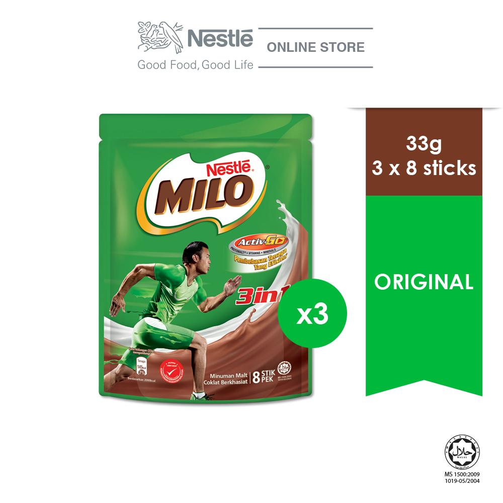 NESTLÉ MILO 3in1 ACTIV-GO Mixes 8x33g x3 packs