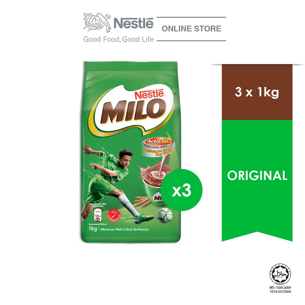 NESTLÉ MILO ACTIV-GO CHOCOLATE MALT POWDER Soft Pack 1kg x3 packs