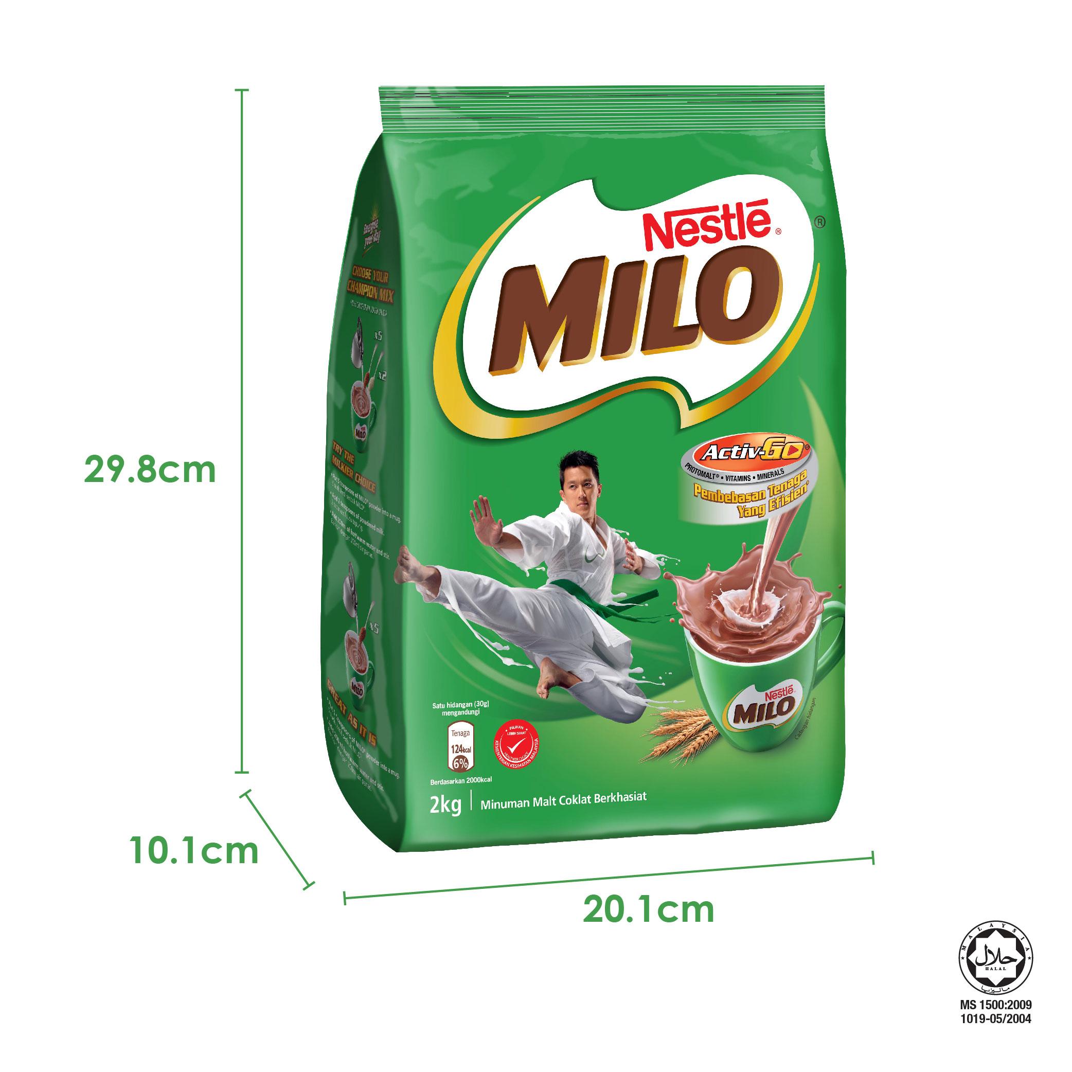 NESTLÉ MILO ACTIV-GO CHOCOLATE MALT POWDER Soft Pack 2kg x6 packs (Carton)