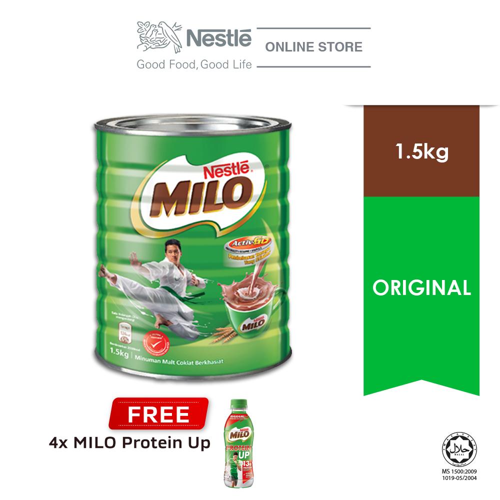 NESTLÉ MILO CHOCOLATE MALT POWDER Tin 1.5kg, Buy 1 Free 1 Cluster Milo Protein Up (Exp: Dec 2020)