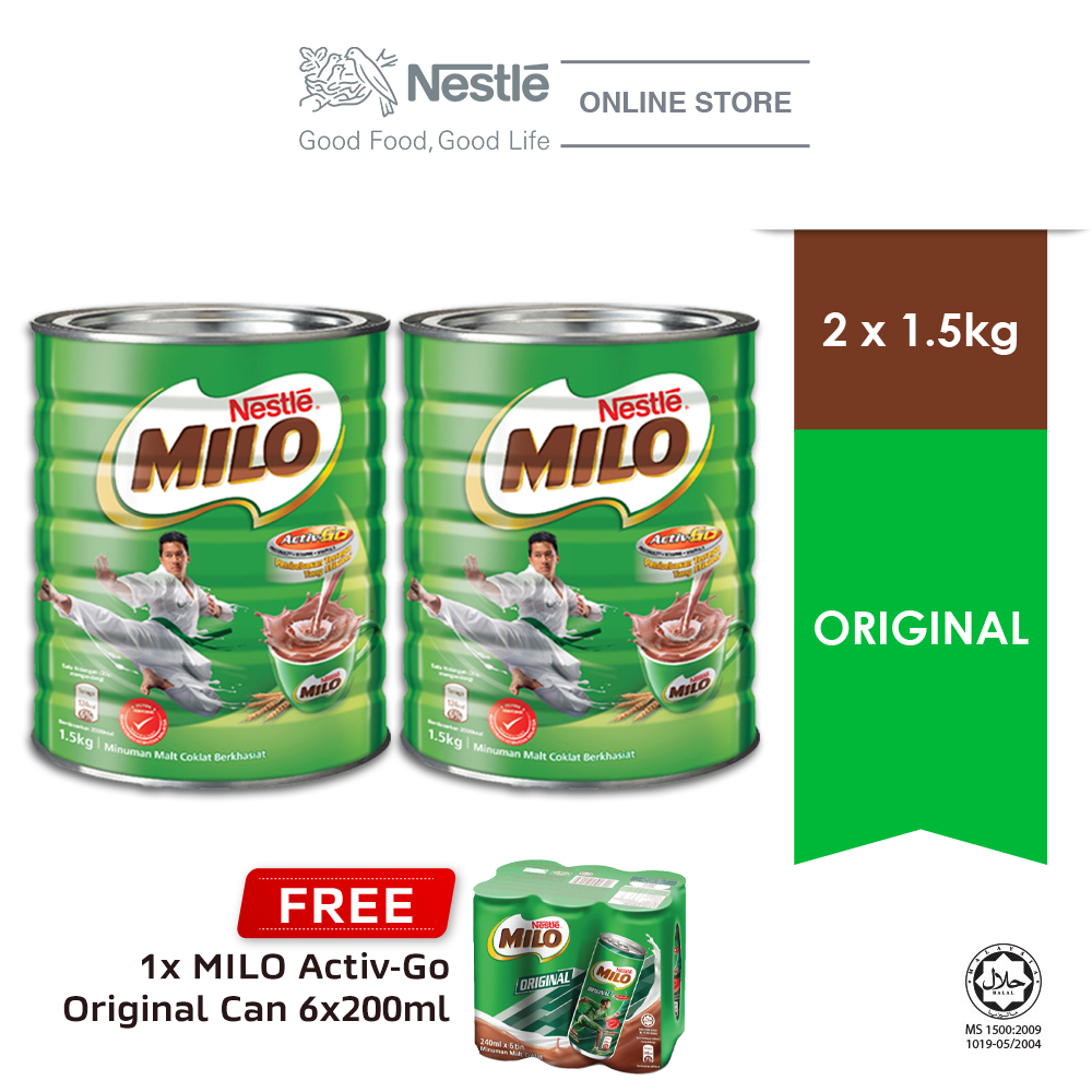 NESTLÉ MILO POWDER Tin 1.5kg, Buy 2 Free 1 Cluster Milo RTD (Exp: Dec 2020)