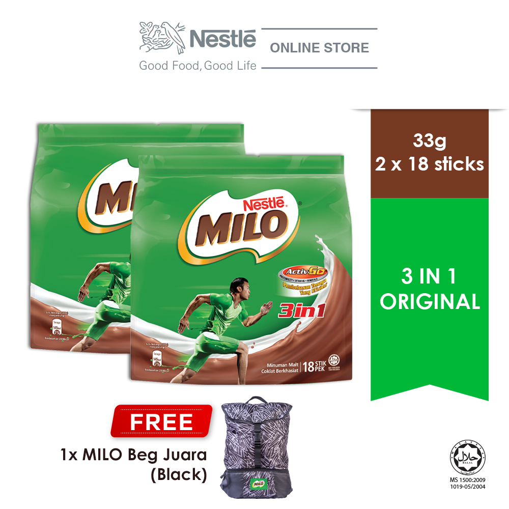 NESTLE MILO 3IN1 ACTIV-GO 18 Sticks, Buy 2 Free 1 MILO Juara Bag (Black)