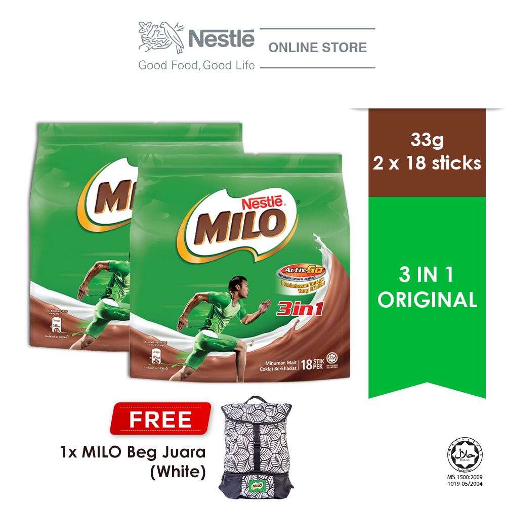NESTLE MILO 3IN1 ACTIV-GO 18 Sticks, Buy 2 Free 1 MILO Juara Bag (White)