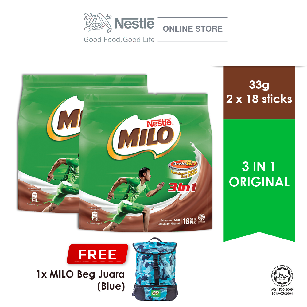 NESTLE MILO 3IN1 ACTIV-GO 18 Sticks, Buy 2 Free 1 MILO Juara Bag (Blue)