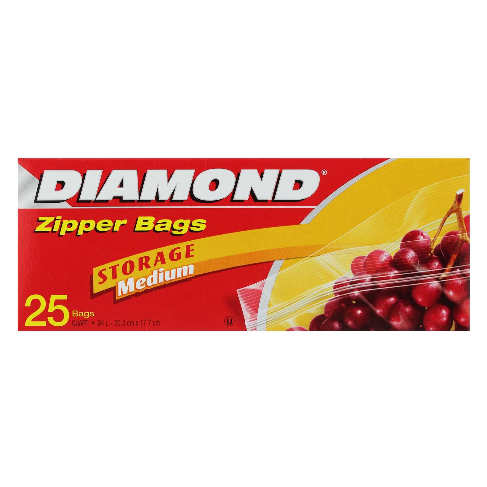 Diamond Zipper Bags Medium Storage 25s