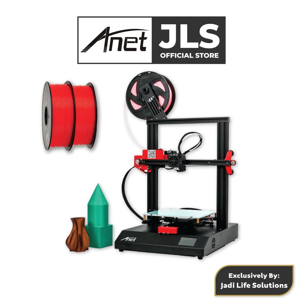 Anet ET4 All-Metal 3D Printer With Industrial Grade Chipset + 2x Red PLA - JADI LIFE