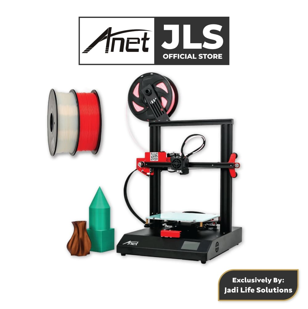 Anet ET4 All-Metal 3D Printer With Industrial Grade Chipset + 2x White & Red PLA - JADI LIFE