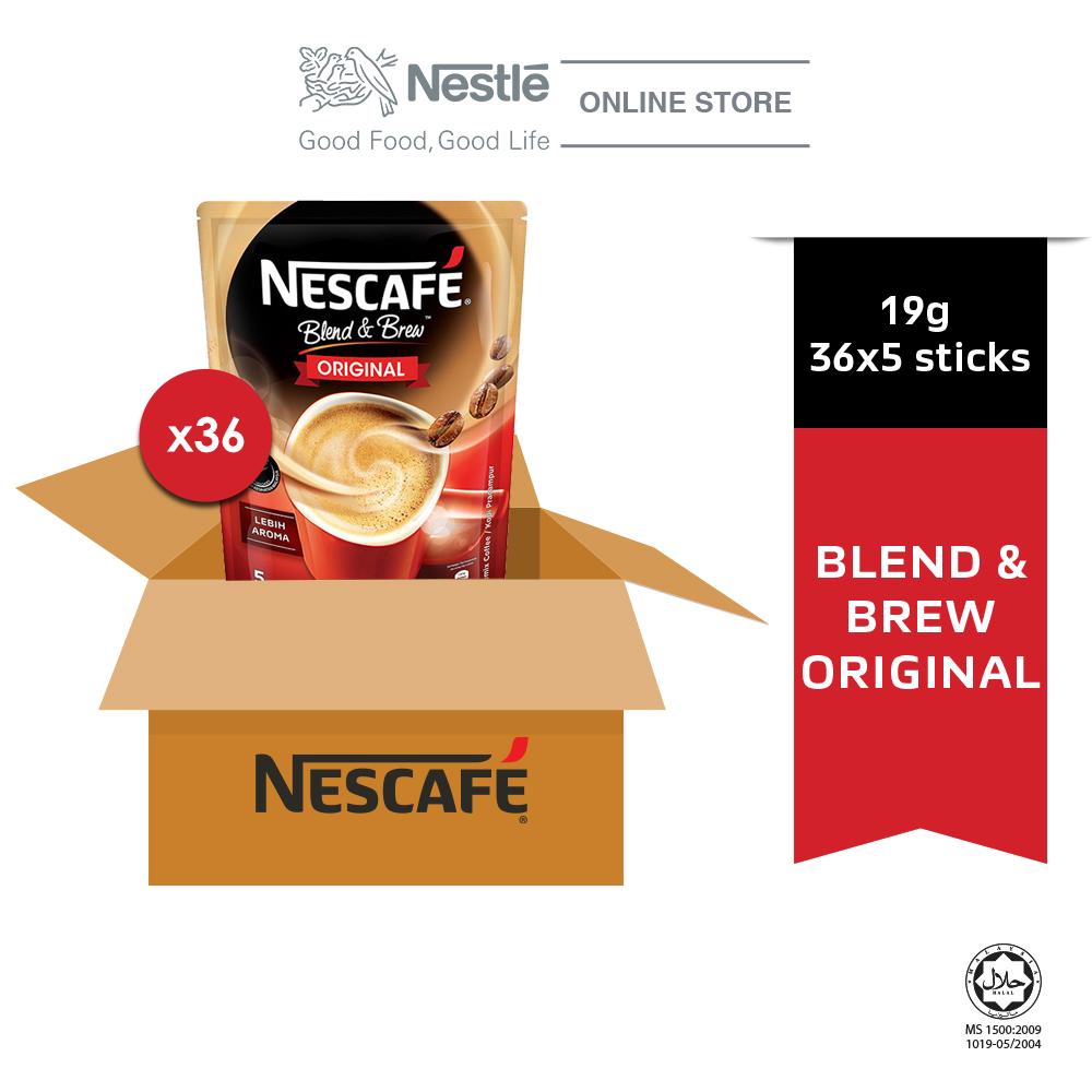 NESCAFÉ Blend and Brew Original 5 Sticks 19g Each, x36 packs (Carton), ExpDate: Aug21