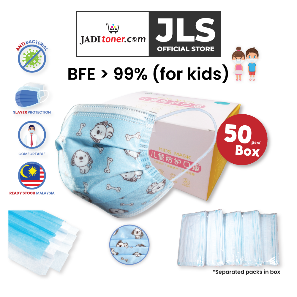 Jadi 3-Ply Disposable Children Face Masks With Three-Layer Protection Blue Dog Design (1-Box, 5-Pack)