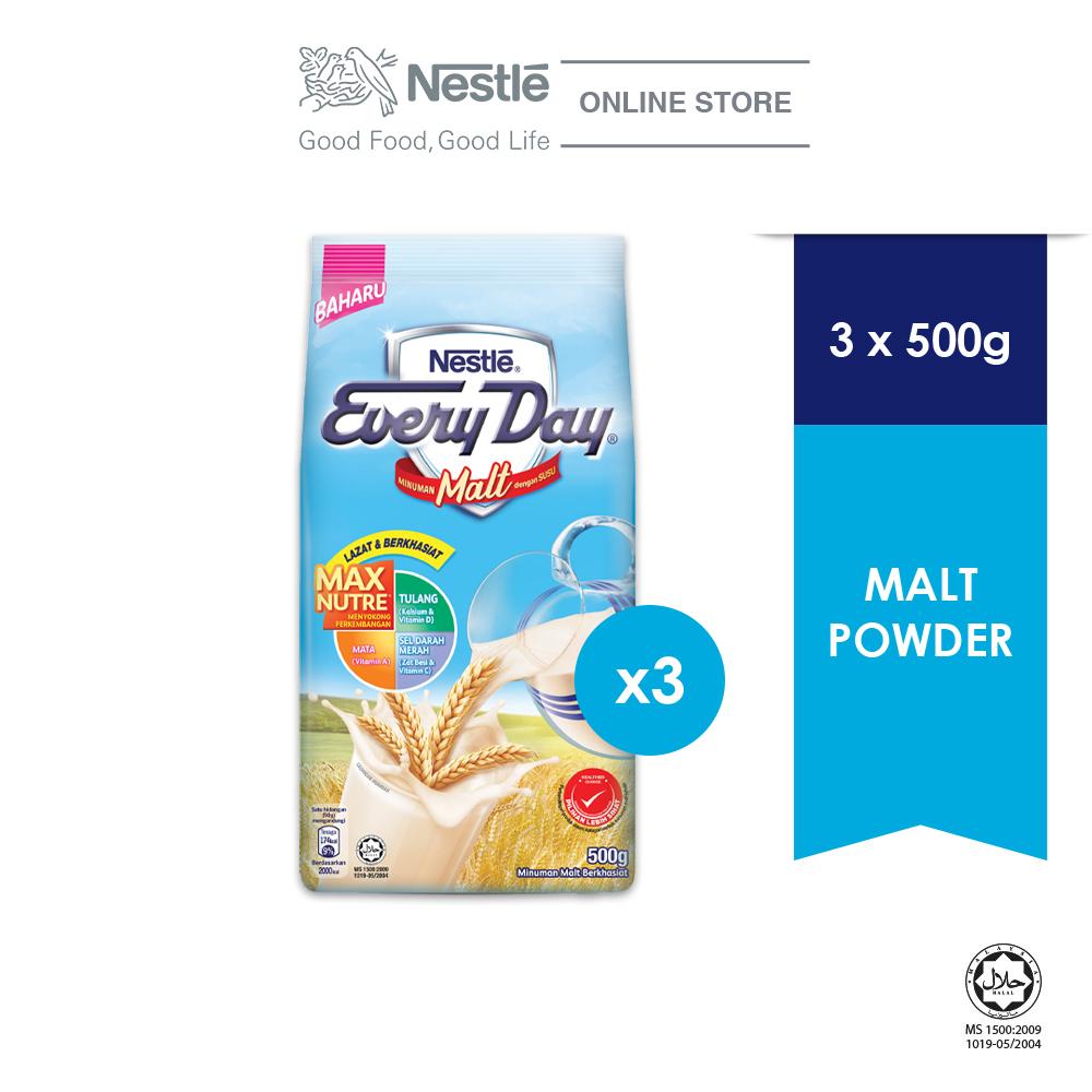 Nestle EVERYDAY Malt Milk Powder 500g, Bundle of 3 ExpDate:Jan'21