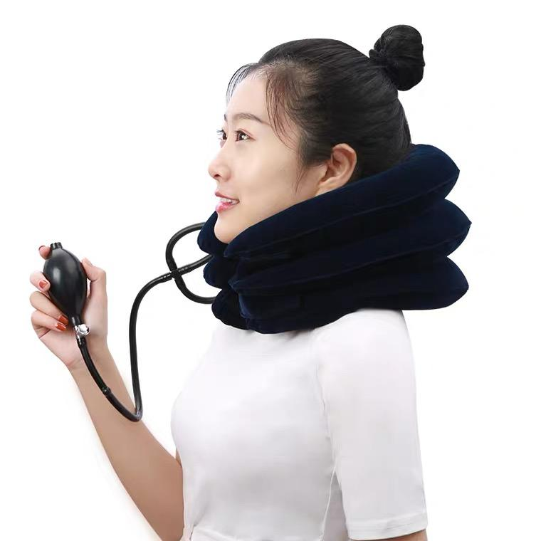 Inflatable cervical traction device, home neck brace, neck physiotherapy