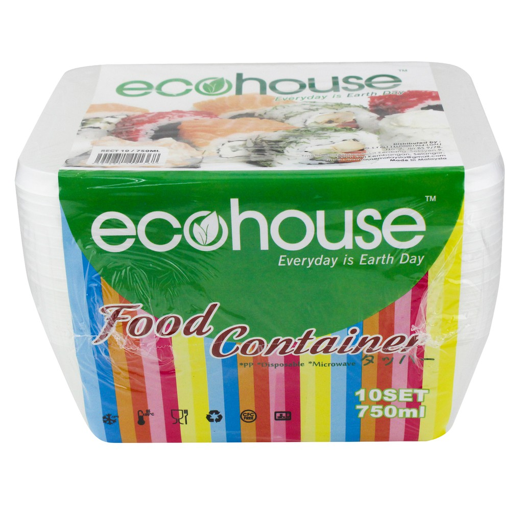 Ecohouse Disposable Food Container 750ml 10 Sets