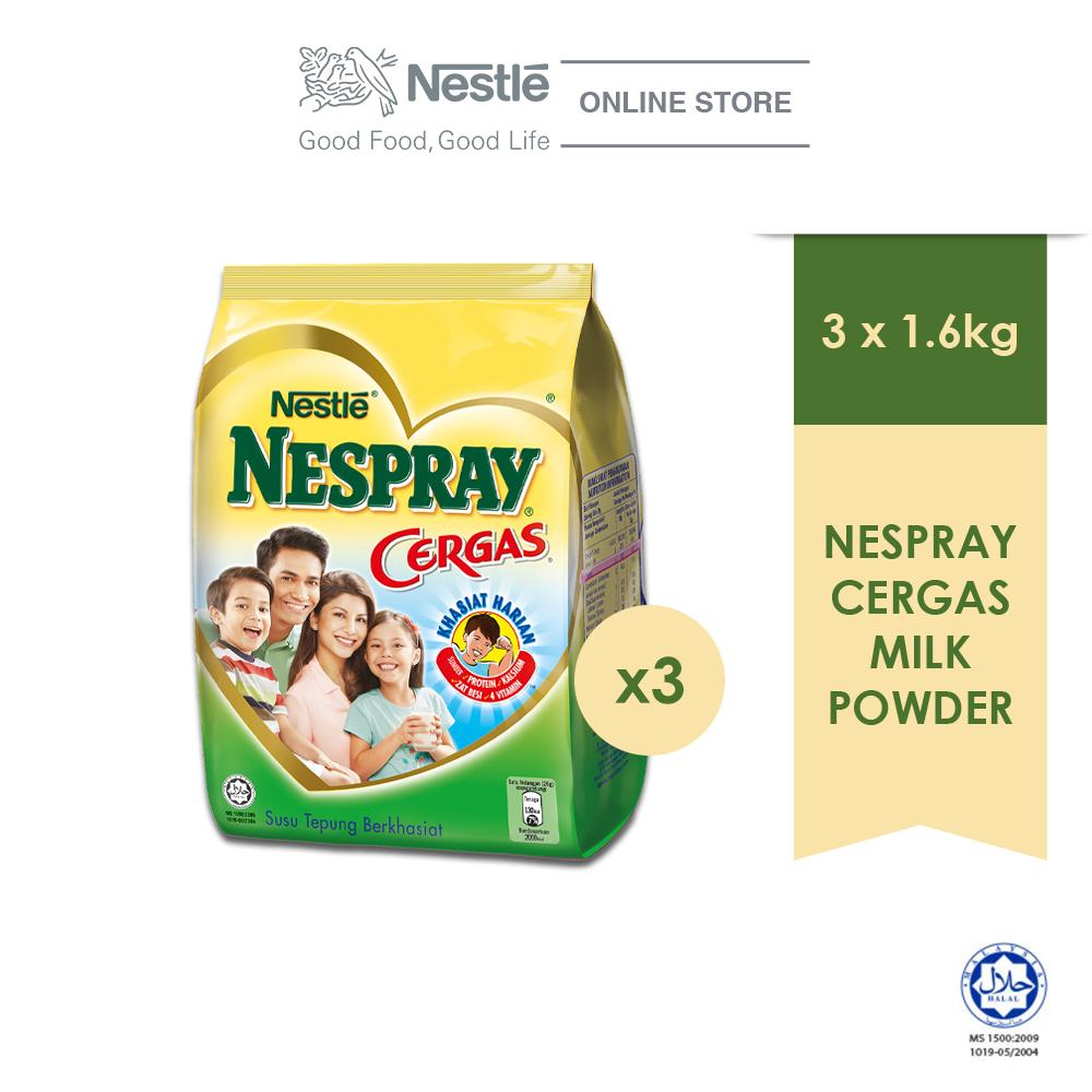 NESPRAY CERGAS Milk Powder Soft Pack 1.6kg, Bundle of 3