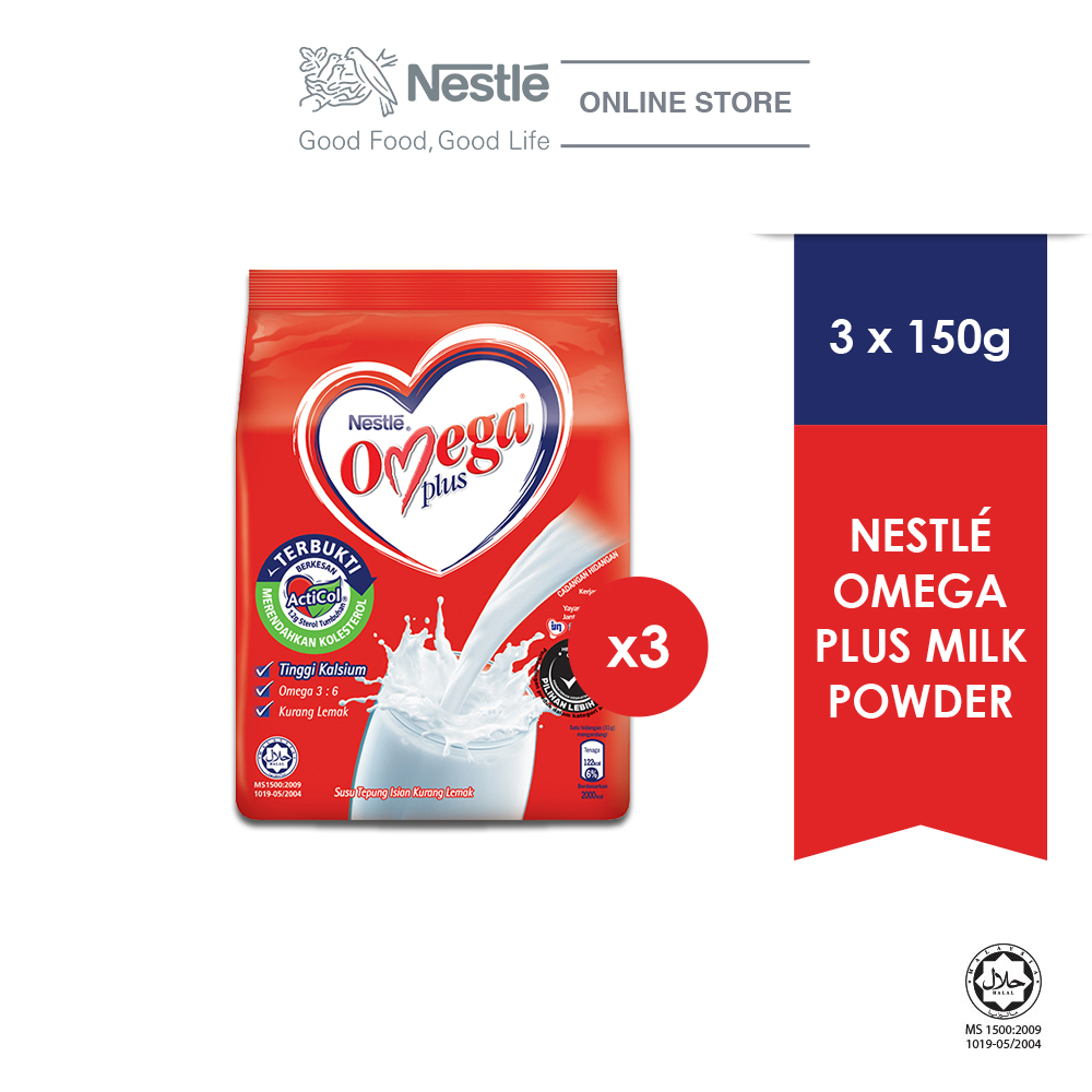 NESTLE OMEGA PLUS Milk Powder Softpack 150g, Bundle of 3