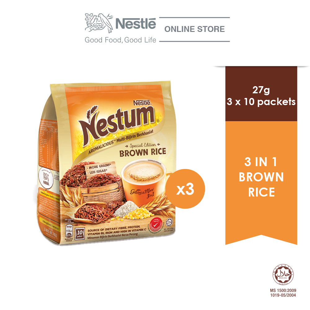 NESTLE NESTUM Grains & More 3in1 Brown Rice 10 Packets 27g, Bundle of 3