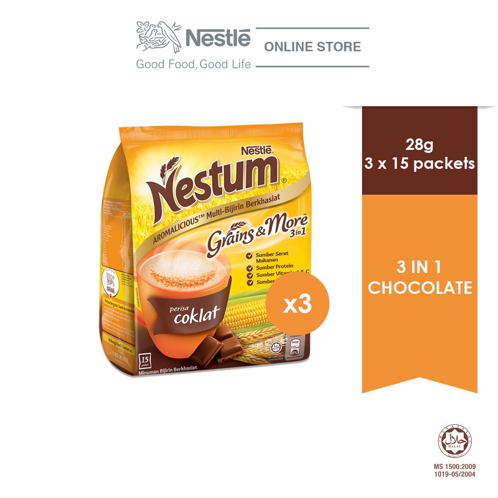 NESTLÉ NESTUM Grains & More 3in1 Chocolate 15x28g, Bundle of 3