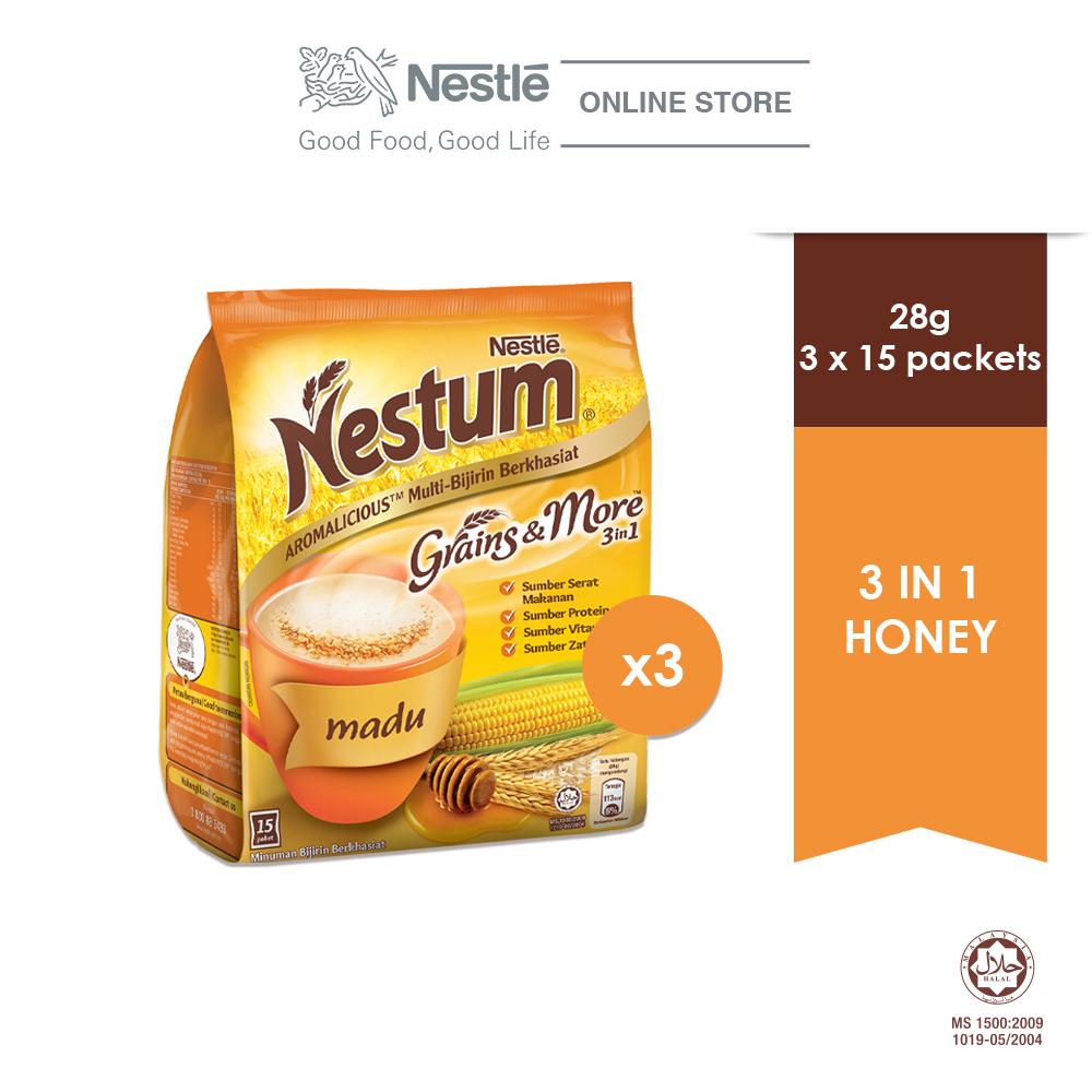 NESTLÉ NESTUM Grains & More 3in1 Honey 15 Packets 28g, Bundle of 3