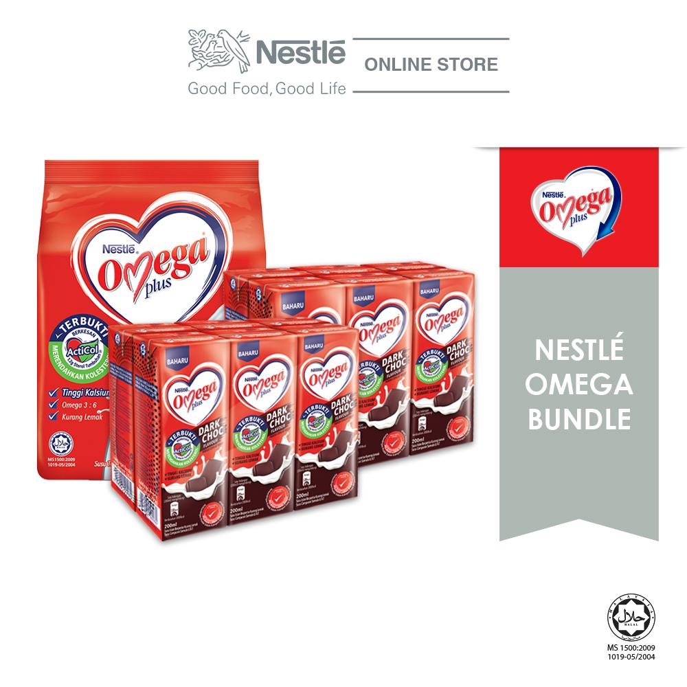 Nestle Omega PLUS Dark Chocolate UHT 6x200ml x2 and Omega 150g