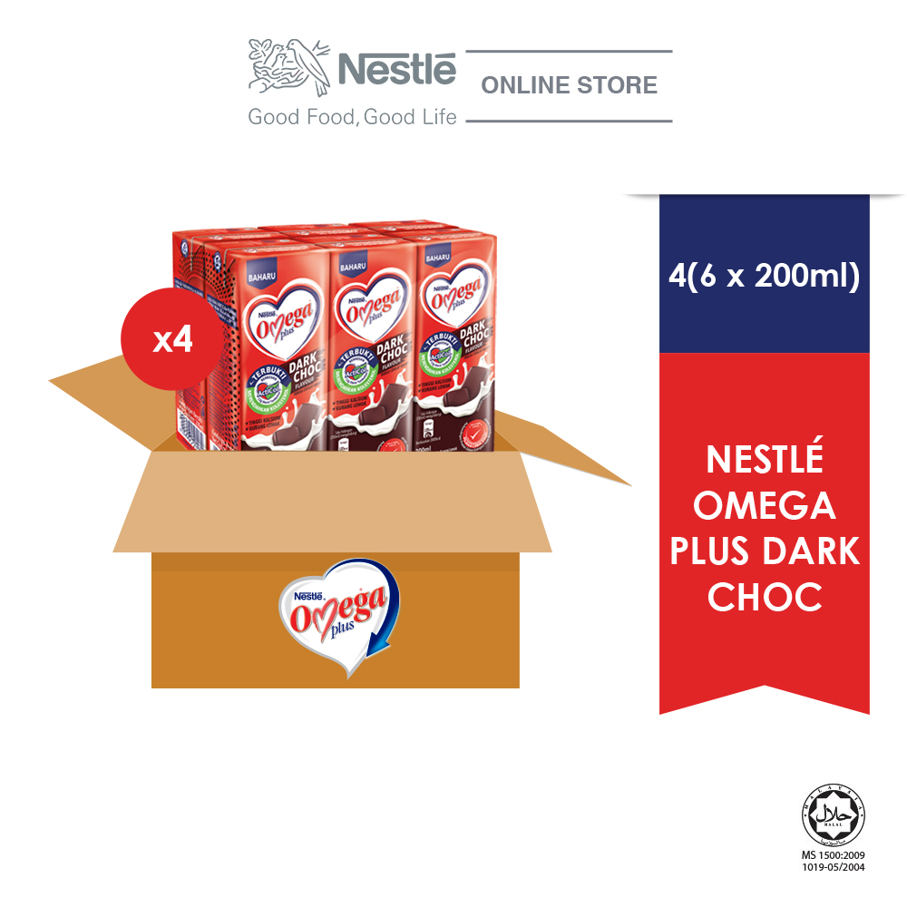 NESTLE OMEGA PLUS Dark Chocolate 6 Packs 200ml, (Carton)