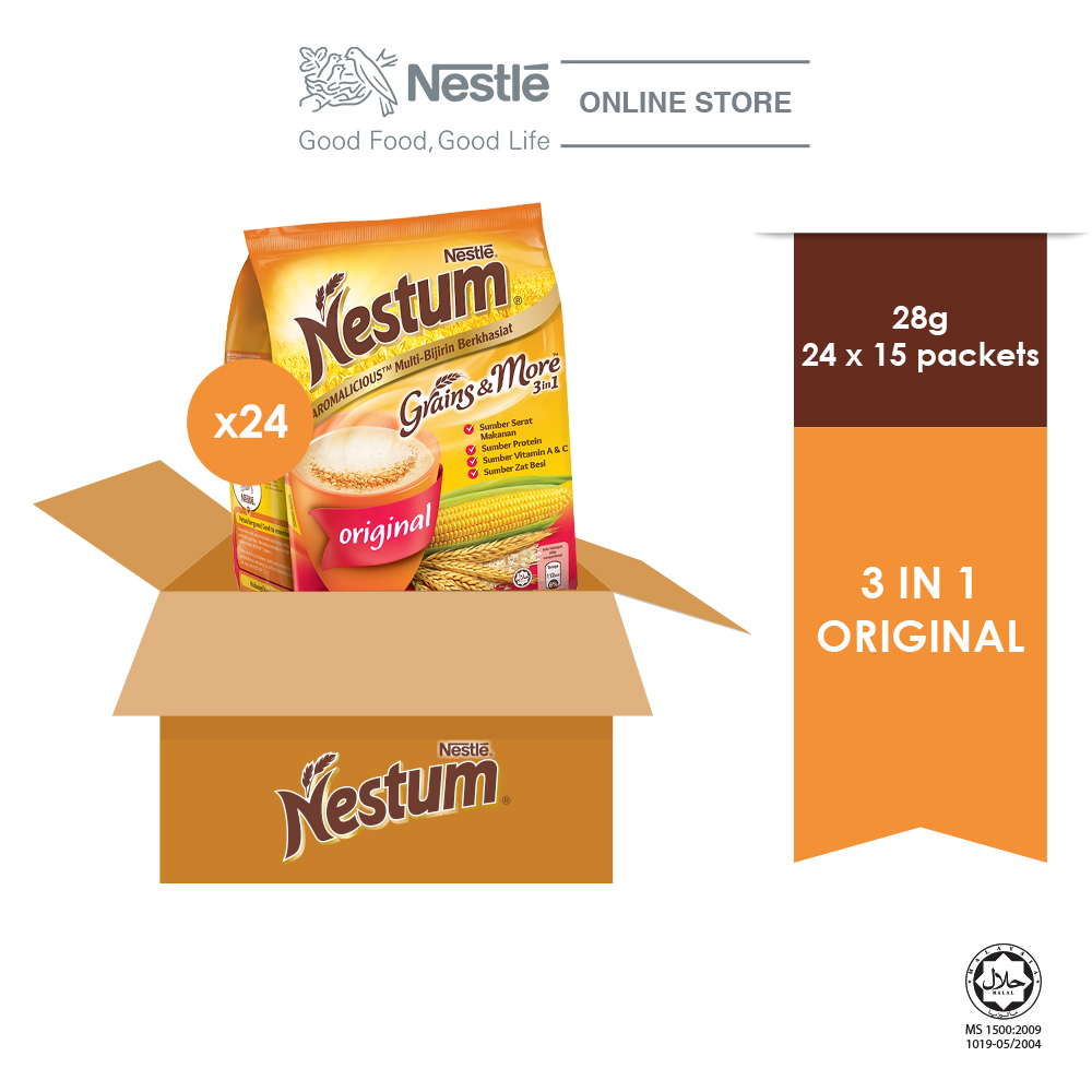 NESTLÉ NESTUM Grains & More 3 in1 Original 15 x 28g - 24 Packs (Carton)