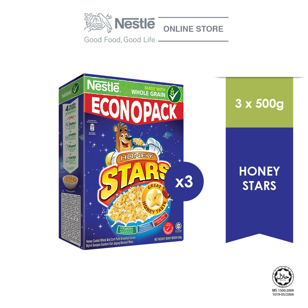 NESTLE HONEY STARS Cereal Econopack 500g, Bundle of 3