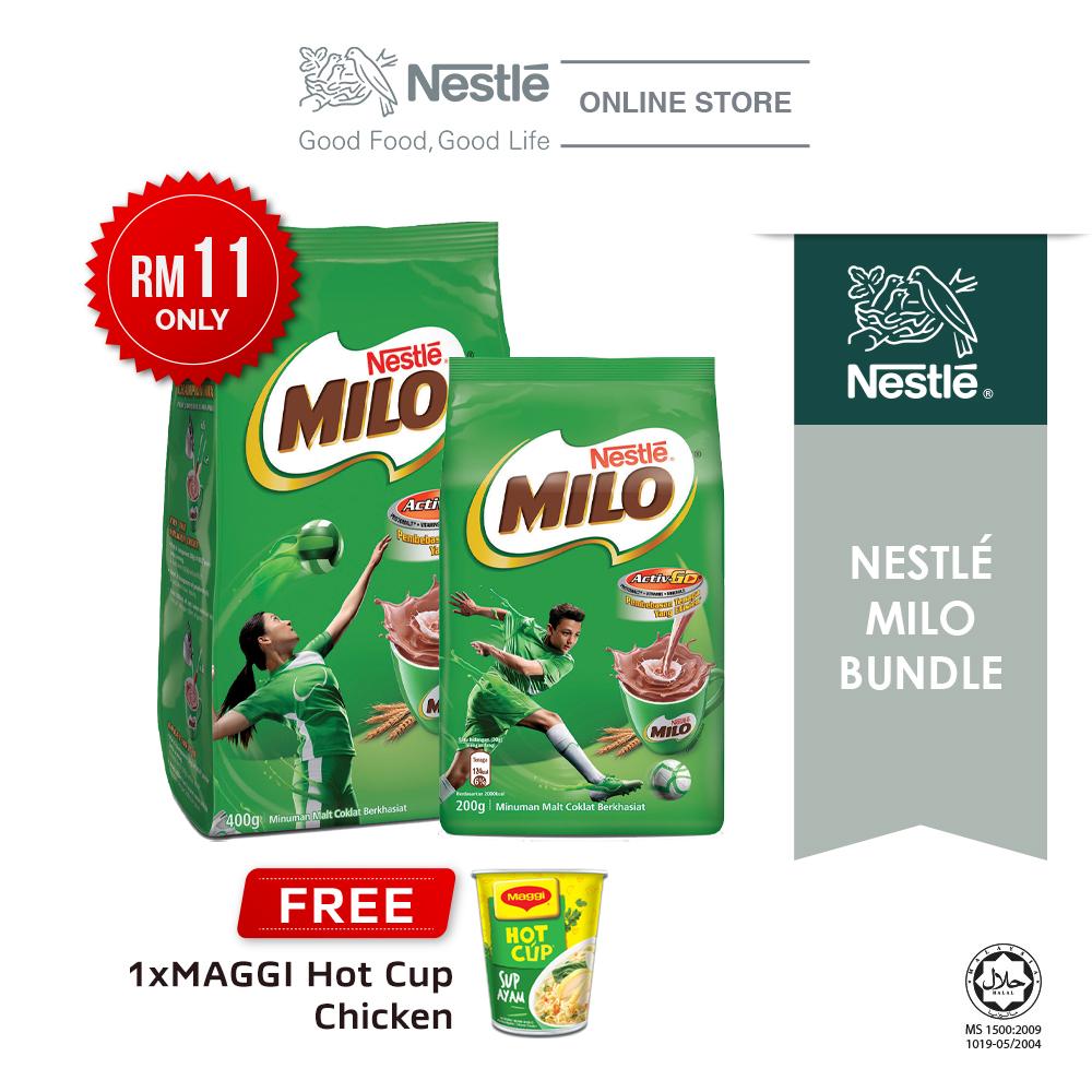 [11.11 Special] Nestle Milo Bundle (Milo Active Go 200g + 400g), Buy 1 Free 1 Maggi Hot Cup Chicken
