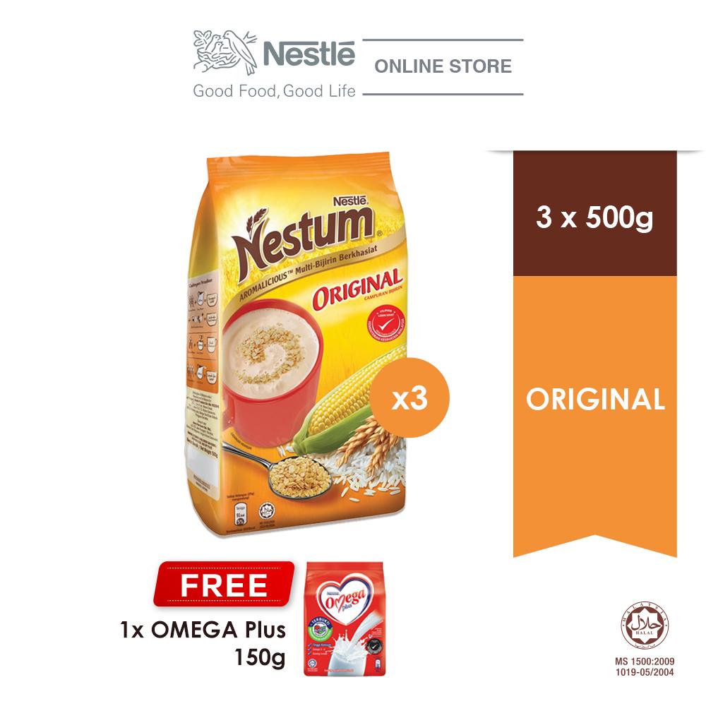 NESTLE NESTUM All Family Cereal Original Softpack 500g, Buy 3 Free 1 OMEGA PLUS Milk Powder 150g